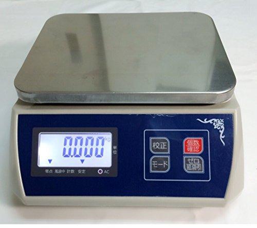 防塵デジタル皿はかり30kg/5g バッテリー内蔵充電式 液晶大画面表示 ステンレス皿仕様 おすすめ 日本語取扱説明書付!デジタルスケール 高精度計量器 電子秤 はかり皿はかり 風袋引き機能 業務用 プロ用