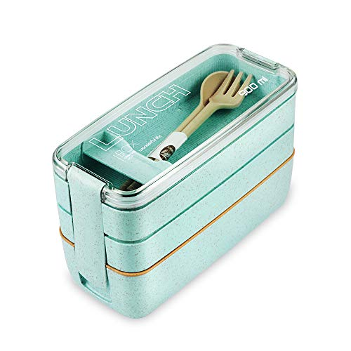 Lunch Box Bento Box ,Iteryn 3-In-1 Compartment - Wheat Straw, Leakproof Eco-Friendly Bento Lunch Box Meal Prep Containers for Kids & Adults