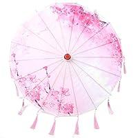 中国風シルクタッセル傘、アートクラフトシルクタッセル傘装飾写真ダンス実行プロップコスプレ傘(ピンク)