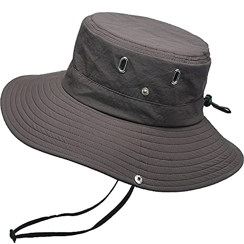 WANYIG Cappello Pescatore Uomo Donna Anti UV Tesa Larga Cappelli Uomo Estivo Cappello da Pesca Bucket Hat Fisherman Hat Safari Hat(360°Caffè)