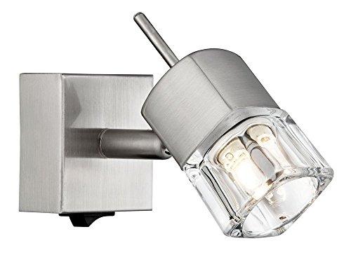 Compacte gesatineerde wandlamp in chroom met ijsblokjeschaduw