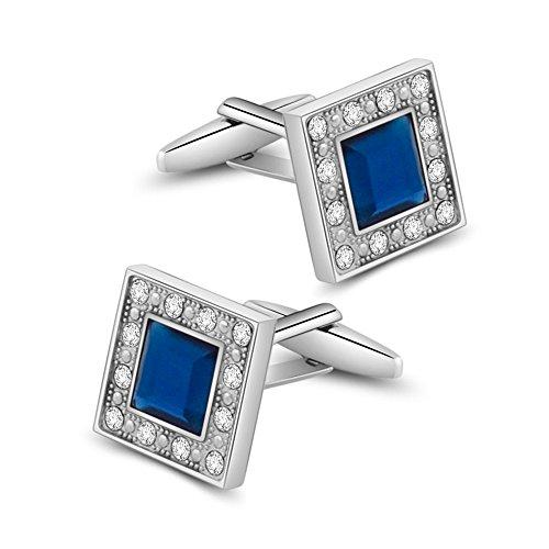 MERIT OCEAN Boutons de Manchette, Bleu Marine Swarovski Cristal Classique Chemise Manchette carrés pour Hommes Liens et avec Boite Cadeau Style Élégan