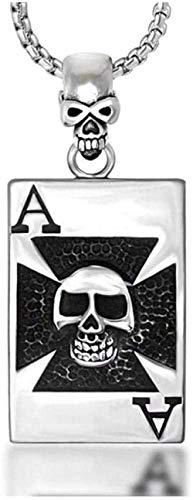 Collar clásico simple de moda Trend Poker Spades Un collar colgante de calavera dominante de acero de titanio