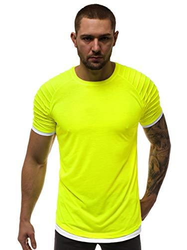 OZONEE Herren T-Shirt T Shirt Tshirt Kurzarm Kurzarmshirt Tee Top Sport Sportswear Rundhals U-Neck Rundhalsausschnitt Unifarbe Basic Einfarbig O/1262XZ GELB-NEON L