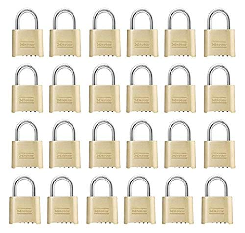 Master Lock 175D Resettable Set-Your-Own Combination Lock, Die-Cast, with 1-inch Shackle, 24-Pack