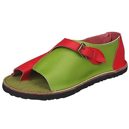 iYmitz Damen Outdoorschuhe Römischer Stil Weiche Bequeme Freizeit Flache Sandale Schnalle Strand Mode Sandalen(Rot,EU/42)