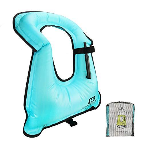WACOOL Inflatable Snorkel Diving Swimming Scuba Vest Jacket (Adult, Sky Blue)