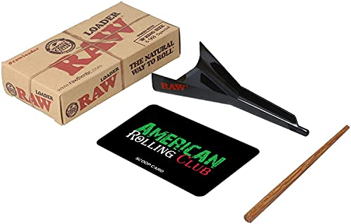 RAW Cone Loader | Fits King Size and 98 Special Pre Rolled Cones and Rolling Papers | Includes American Rolling Club Scoop Card