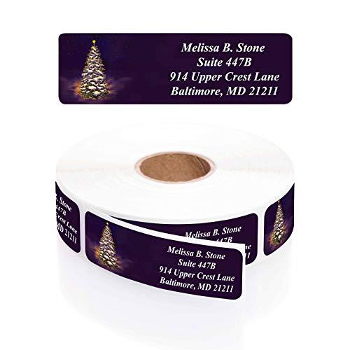 Let It Glow Winter Tree Designer Rolled Return Address Labels with Elegant Plastic Dispenser