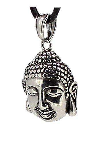Buddha Kopf Anhänger aus Edelstahl, Kettenanhänger Buddhakopf