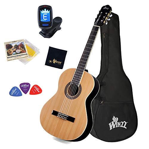 Winzz Guitarra Clásica Tamaño Completo 4/4 para Adultos y Estudiantes, Estructura de Arriostramiento Única Kit de Inicio de Guitarra de 39 Pulgadas - Natural Brillante