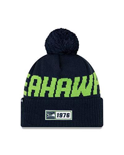 New Era Seattle Seahawks Beanie Knit - NFL 2019 On Field Road 1976 - Navy - One-Size