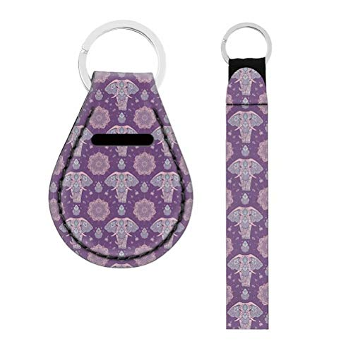 NDISTIN Hand Wrist Lanyard Keychain Holder Elegant Purple Elephant Animals Girl Women Men Personality Double-Sided Printing Bright Colors Carry Easy Durable Soft Fabric Key Chains Auto Accessories