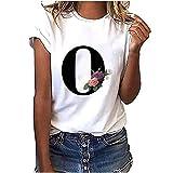 VEMOW Camiseta de Mujer Manga Corta Suelta con Cuello Redondo Talla Grande, Moda Impresión de 26 Letras Inglesas Basica Suelto Verano Camisa Tops Casual Fiesta T-Shirt para el Mejor Amigo(O,M)