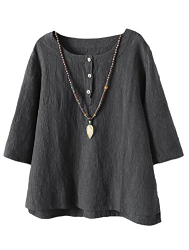 Vogstyle Damen Baumwoll Leinen Tunika T-Shirt Jacquard Oberseiten, Grau, L