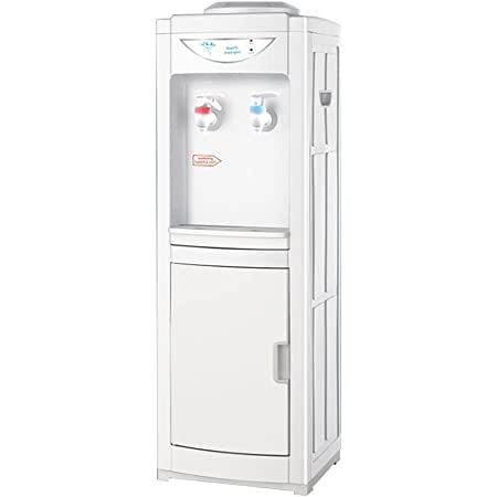 Top Loading Water Cooler Dispenser, Vertical Electric Hot & Cold Water Dispenser with Storage Cabinet, Hold3or5Gallon Bottle, Child Safety Lock for Home Office (Vertical, Hot and Cold)