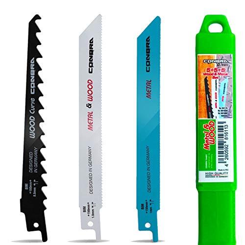 CONBRA ® Säbelsägeblatt Set - Ideal für Holz & Metall (15-tlg.) - Kompatible Sägeblätter für Säbelsäge von Bosch GSA 18v, PFZ, PSA & Makita JR3070CT - Inkl. Tough Box - Sägeblätter Säbelsäge