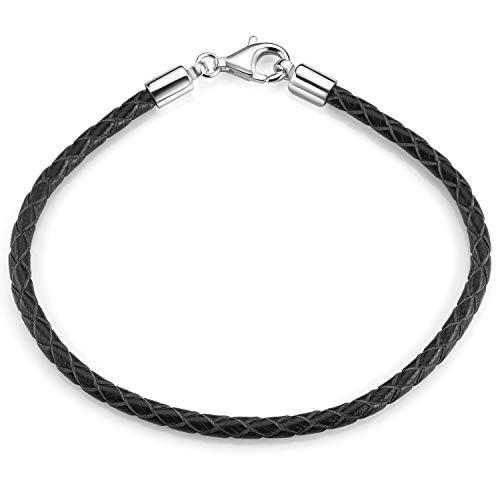 MATERIA Damen Herren Beads Armband Leder 3mm schwarz 925 Silber Lederarmband 17-22cm A58, Länge:21 cm