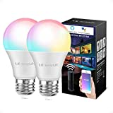 Alexa Smart Light Bulb, RGB Color Changing LED Bulbs, Works with Alexa and Google Home, Dimmable A19 E26 Bulb 60 Watt Equivalent, No Hub Required, 2.4GHz WiFi (Pack of 2)