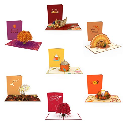 Lovepop Fall Pop Up Cards - 7 Pack, Fall Pop Up Cards, Thanksgiving Pop Up Cards, Fall Thank You Cards, 3D Fall Cards