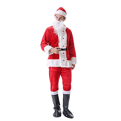 Mens Santa Suit & Accessories Christmas Santa Claus Outfit Soft Deluxe Corduro Red Santa Suit Cosplay Set