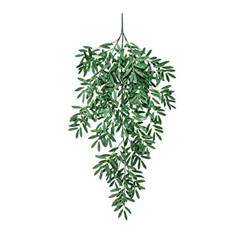 LHHZAL Artificial Olive Leaf Branches Hangings Fake Olive Stems Greenery Eucalyptus Spray for Door Wall Window Christmas Decor (Green)