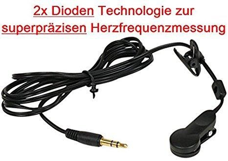 Go-Shopping24, clip per orecchio con tecnologia 2 diodi per la misurazione della frequenza cardiaca super precisa per pollice, cardiofrequenzimetro, cardiofrequenzimetro, cardiofrequenzimetro, cardiofrequenzimetro