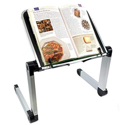 Large 15 Inch XL Aluminum Alloy Book Stand for Textbooks Reading Hands Free,Laptop,Cookbook Stand,iPad,Tablet PC,Music Books,with Adjustable Motherboard Height and Angle Ergonomic Paper Holder,Black