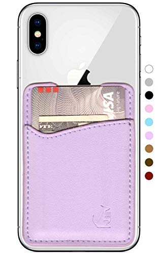Leather Phone Card Holder Stick On Wallet for iPhone and Android Smartphones by Wallaroo (Lavender Pink)