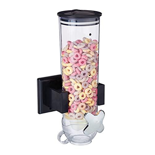 Relaxdays, Montaje en Pared, Recipiente de 1,7 L, Dulces, dispensador de Cereales, 31 x 16 x 14 cm, Color Negro, 31x16x14 cm