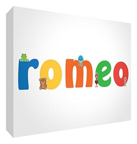 Little Helper LHV-ROMEO-A6BLK-15IT Pannello Decorativo Neonato/Battesimo Idea Regalo, Disegno Personalizzabile con Nome da Ragazzi Romeo, Multicolore, 10.5 x 14.8 x 2 cm
