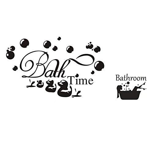 """Calcomanía de pared """"hora del baño"""" y calcomanía de pared """"baño"""" calcomanía de cita relajante calcomanía con letras artísticas diciendo decoración del hogar para dormitorio sala"""