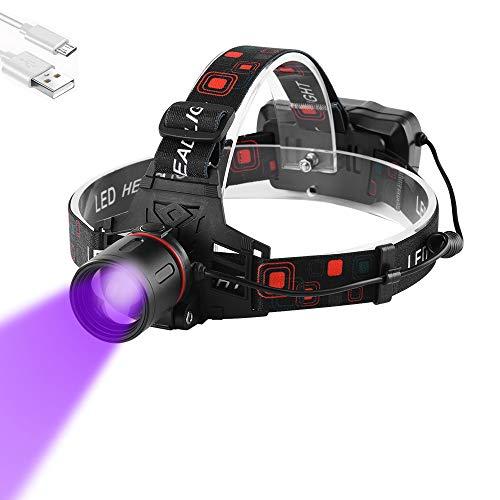 Linterna Frontal UV Recargable, WESLITE Linterna Frontal Luz Ultravioleta 395-400nm Linternas Frontales Violeta Negra Zoom capaz para Scorpions, Fugas de Aceite de HVAC de Automóviles, Pesca