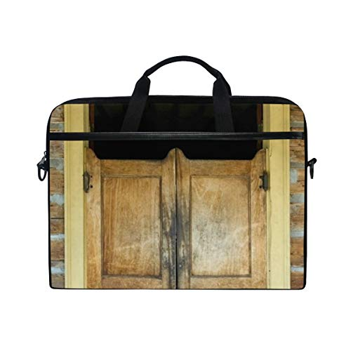 FOURFOOL 15-15.6 inch Laptop Bag,Wild West Saloon Door Backdrop Western Cowboy Montana Ghost Town Wooden Authentic Bar Gate Doorway,New Print Pattern Briefcase Shoulder Messenger Handbag Case Sleeve