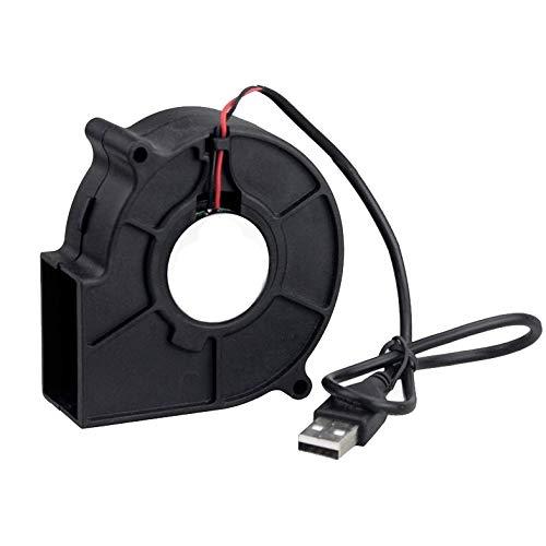 YOUCHOU Ventilador de 75 mm 5 V USB 75 x 30 mm Ventilador de Escape centrífugo de enfriamiento DC sin escobillas Muchos usos