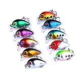VORCOOL 10 unids 3 CM señuelos de Pesca señuelos de Cebo Duro Grande con Agudos Gancho Cebo de Pesca Realista Los Ojos de Pesca 3D Señuelos de hundimiento Popper para la Trucha bajo Leucomas Redfish