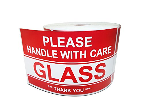 3 X 5 Glass - Please Handle with Care - Thank You, Warning Shipping Labels (1 Roll, 500 Stickers/Roll)