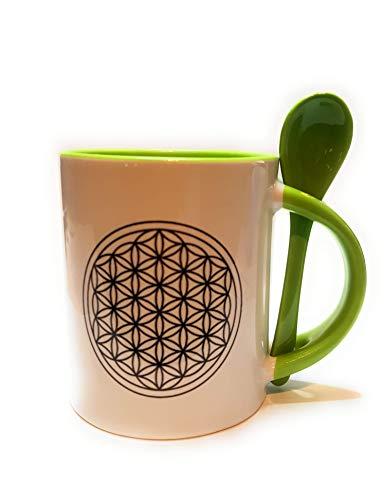 Taza de café o té con diseño de flor de la vida, color verde