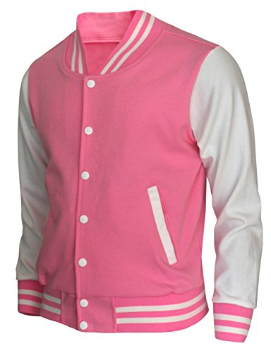 Mens Varsity Baseball Cotton Pink Letterman Jacket