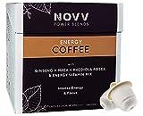 NOVV ENERGY COFFEE - 150 MG CAFEÍNA - Café energético para el deporte - Café + Extracto puro de cafeína + Ginseng + Maca + Rhodiola Rosea + Vitaminas - 20 cápsulas Nespresso® compostables (Naranja)