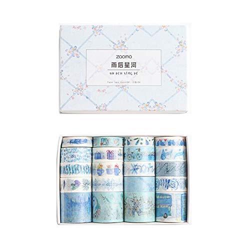 VOANZO - Set di 20 rotoli di nastro adesivo River Washi, sogno blu dopo pioggia, stelle decorative Washi Masking Tape set per bullet Journal, agenda, confezione regalo, decorazione natalizia