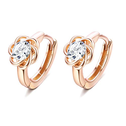 Sllaiss Set With Swarovski Zirconia Small Hoop Earrings for Women Sterling Silver 14K White Gold Rose Gold Plated Celtic knot Cartilage Piercing Round Cut CZ Halo Dainty Earrings (Rose Gold Plated)