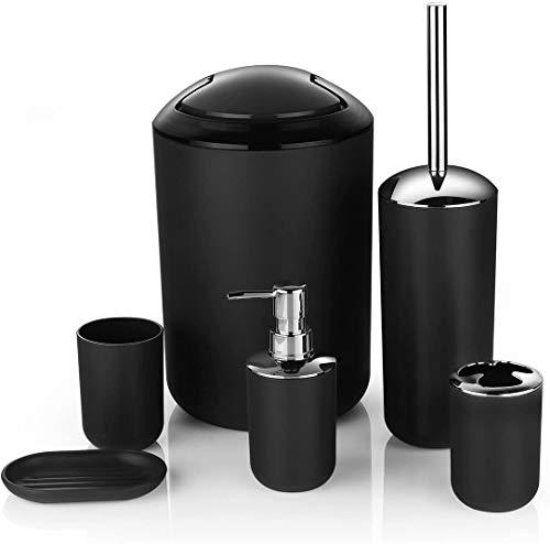6 Pcs Plastic Bathroom Accessory Set Luxury Bath Accessories Bath Set Lotion Bottles, Toothbrush Holder, Tooth Mug, Soap Dish, Toilet Brush, Trash Can, Rubbish Bin (Black)