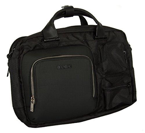 BIKKEMBERGS Tasche mit Schulterriemen Notebook Mann Herren Artikel 7ADD6302 DB-CITY BRIEFCASE 2 COMPARTMENTS, 0D3 Black/Black, UNICA - ONE SIZE