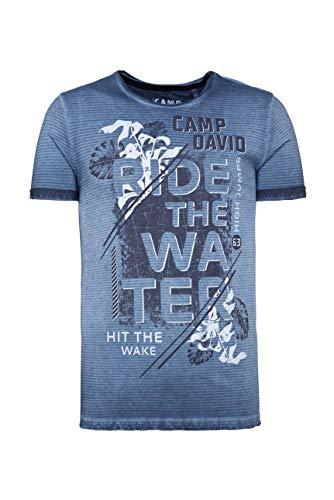 Camp David Herren Streifenshirt mit Used-Kanten und Frontprint