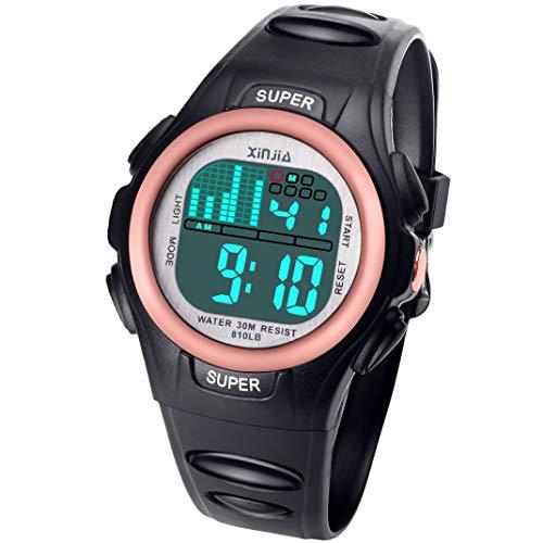 Jungen Digitaluhren, 7 Farben LED Licht Mädchen Uhr Wasserdicht Kinderuhren Mädchen Junge Digital Sportuhren Armbanduhr für Sport Outdoor Alter 2-16 (Schwarz Gold)