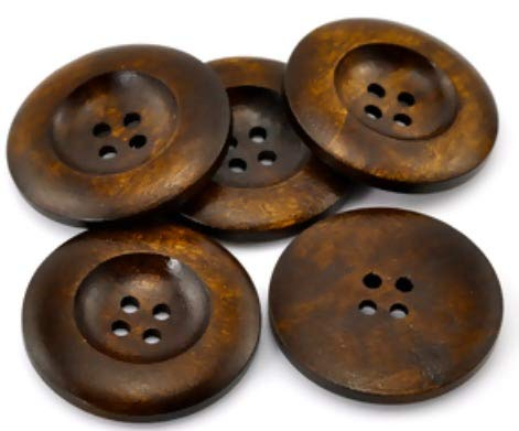 Handarbeit-Lieblingsladen 30 Stück Premium Holzknöpfe rund braun, Durchmesser 35mm, 4 Löcher Knopf Knöpfe Jackenknöpfe Mantelknöpfe zum annähen, nähen oder basteln (DIY-Arbeiten)