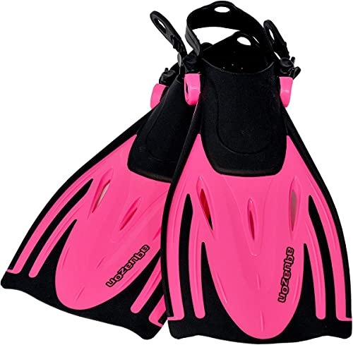 AQUAZON Alicante Verstellbare Flossen, Schnorchelflossen, Taucherflossen, Schwimmflossen für Kinder und Erwachsene zum Schnorcheln, Schwimmen, Farbe:pink, Größe:32/37
