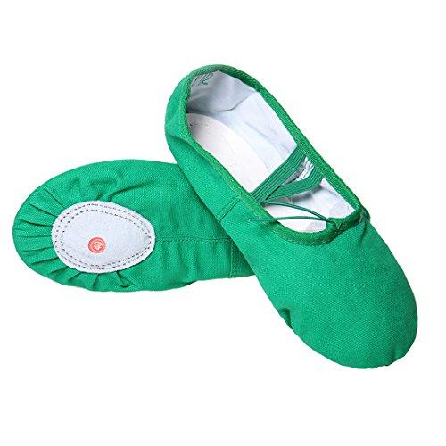 DoGeek Scarpe da Ballerina Scarpe da Ballo Mocassini Danza Classica Scarpe-Blue (32, Verde)