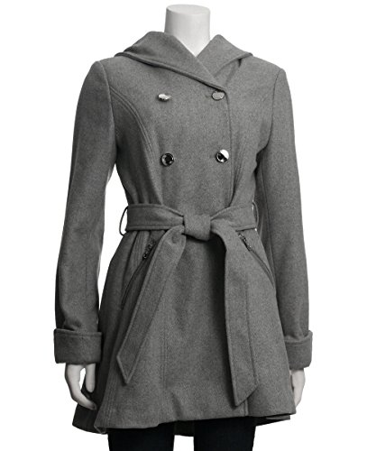 Jessica Simpson Double Breasted Hooded Coat (Heather Grey), XSmall